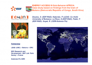 Presentation Energy access in Sub-Saharan Africa: Case study based on findings from the town of Bukavu, DRC