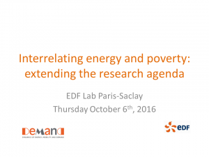 Link to copy of presentation: Introduction to interrelating energy and poverty: extending the research agenda